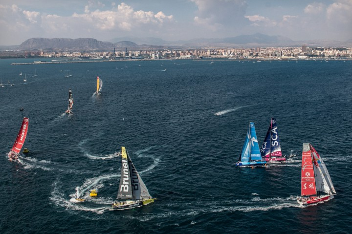 Aerial view of the fleet during the In-Port Race in Alicante.